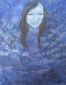 ギリシア神話の夜の女神ニュクスをモチーフにした絵画。作者:若松芽衣
