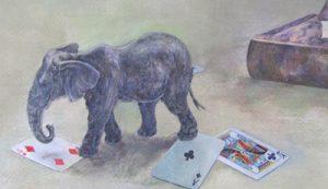 WakamatsuMeiが2014年に制作した『communitas』という作品のゾウとトランプの描かれた部分のアップ