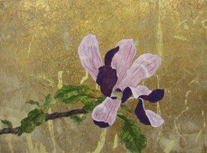 WakamatsuMeiが2014年に制作した紫の木蓮を描いた日本画の作品。タイトルは『花ひらく』