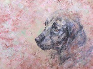 WakamatsuMeiが2012年に制作した黒い犬を描いたアクリル画の作品。タイトルは『春を待つ』