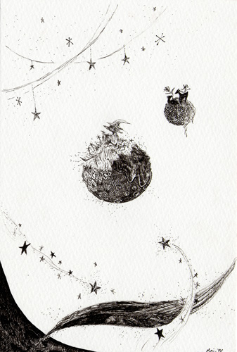 WakamatsuMeiが描いた「小さな空想絵画」シリーズの1つ、『星が降る』というペン画の作品。