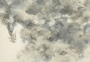WakamatsuMeiが墨をメインに使って制作した2010年の日本画の作品。タイトルは『百鬼夜行』