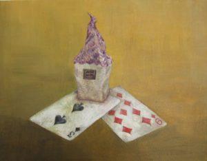 WakamatsuMeiが2015年に制作した家とトランプを描いたアクリル画の作品。タイトルは『魔女の家』