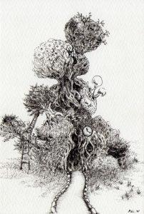 WakamatsuMeiが描いた「小さな空想絵画」シリーズの1つ、『みんなの家』というペン画の作品。