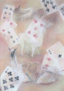 WakamatsuMeiが2011年に制作したラマとトランプを描いたパステル画の作品。タイトルは『ラマ』