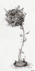 WakamatsuMeiが描いた「小さな空想絵画」シリーズの1つ、『小さな世界』というペン画の作品。