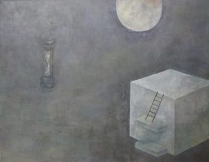 WakamatsuMeiが2016年に制作した月と砂時計と謎の建造物を描いたアクリル画の作品。タイトルは『月の都』