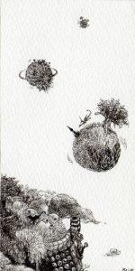 WakamatsuMeiが描いた「小さな空想絵画」シリーズの1つ、『惑星探訪』というペン画の作品。