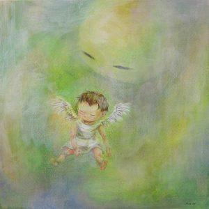 WakamatsuMeiが2017年に制作したアクリル画の作品。spiritシリーズ。タイトルは『playroom』