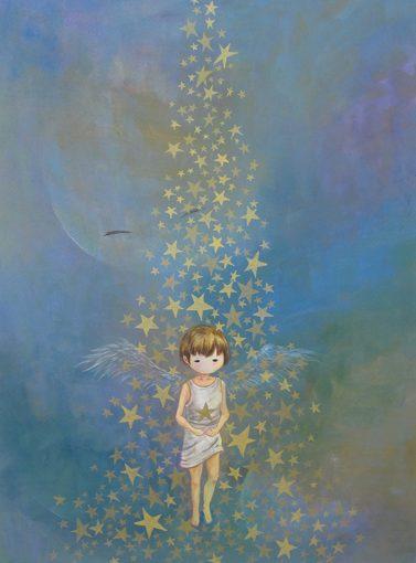 WakamatsuMeiが2017年に制作したアクリル画の作品。spiritシリーズ。タイトルは『手の中の星』