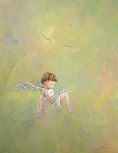 WakamatsuMeiが2017年に制作したアクリル画の作品。spiritシリーズ。タイトルは『翔ばなくてもいい』